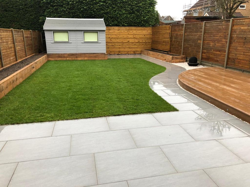 Porcelain patio and Millboard decking - Cambridge Project